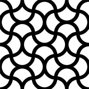 Wavy Scale Pattern Black White Large