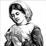 Victorian Little Girl Hand Sewing