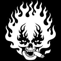 Flaming Stogie Skull
