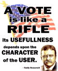 Teddy Roosevelt Quote - A Vote is like a Rifle