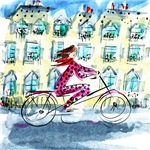 Woman on a Bicycle, Paris