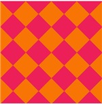 Harlequin Diamond Argyle Pattern Neon Pink Orange