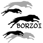 Many Borzois Running
