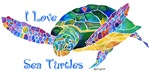 I Love Sea Turtles Design in Purples