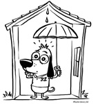 Superstitious Doggy - Open Umbrella in Doghouse