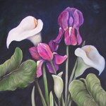 Calla lilies and purple Irisis II