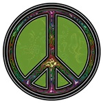 Green Psychedelic Peace Symbol