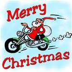 Motorcycle Santa t-shirts and Biker Santa Gifts