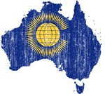 Australia Commonwealth Flag And Map