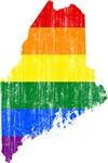 Maine Rainbow Pride Flag And Map