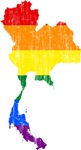 Thailand Rainbow Pride Flag And Map