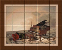 PIANO AND ROSE TILE MURAL