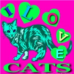 I Love Cats Sinful Cyan