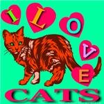 I Love Cats Hot Jade