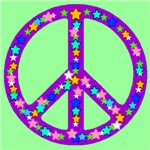 Peace Symbol Stars Pastel Green