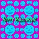 36 Blue Happy Halloween Jack-o-lanterns