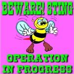 Beware! Sting Operation In Progress Cyan Bee