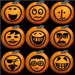9 Cute Jack-o-lanterns Set 2