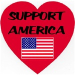Support America Blood Red Heart
