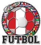Peru Flag World Cup Futbol With World Flags