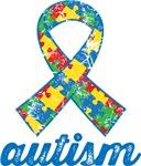 Autism Puzzle Ribbon Grunge T-shirts