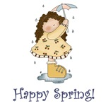 Happy Spring Prim Rain Girl Gifts