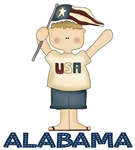 Patriotic Alabama Kids T-shirts
