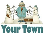 CUSTOM SNOWMAN CITY AND TOWN T-SHIRTS