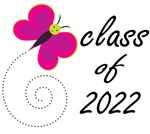 Pretty CLASS OF 2022 T SHIRTS with butterf