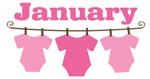 Cute January Pink Baby Clothes Announcement Design