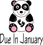Due In January Panda Maternity Tee Shirts