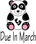 Panda Maternity March Due Date T-shirts