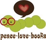 Peace Love Books Bookworm Gifts