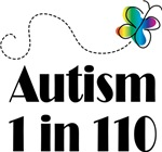 Autism 1 in 110 Butterfly T-shirts