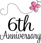 6th Anniversary Pink Butterfly Keepsake Gifts