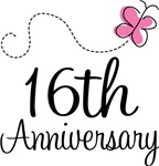 16th Anniversary Pink Butterfly Keepsake Gifts