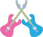 GUITAR DUO PINK N BLUE MUSIC T-SHIRT GIFTS