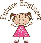 Future Engineer Stick Girl Occupation T-shirts