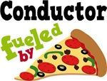 CONDUCTOR Funny Fueled By Pizza T-shirts