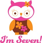 7th Birthday Owl Retro Tees For Kids