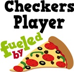 CHECKERS PLAYER Funny Fueled By Pizza Tshirts