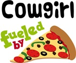 COWGIRL Funny Fueled By Pizza T-shirts
