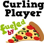 CURLING PLAYER Funny Fueled By Pizza Tshirts