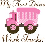 Aunt Drives Work Trucks Pink Girls T-shir
