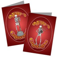 Skeleton Musician Christmas Greeting Cards
