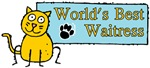 World's Best Waitress Cat Banner Blue