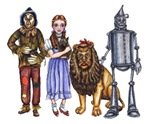 The Wizard of Oz cast of characters is all here.  Dorothy Gale, the Tinman, Scarecrow and the Cowardly Lion.  This is the shirt to get for the Wizard of Oz Fan.