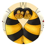 Bees In Love Buttons, Stickers And Magnets