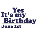 June 1st Birthday T-Shirts & Gifts