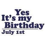 July 1st Birthday T-Shirts & Gifts